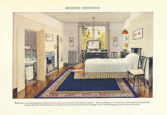 Modern Bedroom Interior Design Colour Print 1910 Wall Art Home