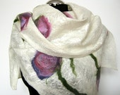 Felted scarf white  nunofelt  scarf  with flowers wool scarf  natural white, violet