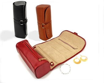 Elizabeth Leather Jewelry Roll - Personalize this for your Bridesmaid, Mother or Best Friend