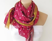 Oversize Fuchsia Yellow White Polka Dot Scarf -Fall Fashion Scarf-Headband-Beach Pareo- Infinity Scarf- Beach Sarong-Long Scarf-New Season