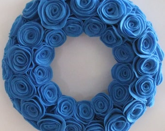 "Crystal blue 12"" rosette wreath"