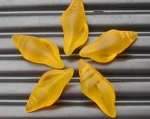 2PCs (26X12mm) Mini Conch Shell Saffron Yellow Earring Size Recycled Sea Glass Pendants- 2 Pieces