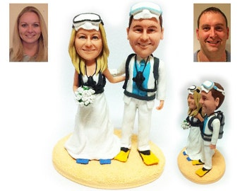 Personalised wedding cake topper - Diving couple wedding cake topper (Free shipping)