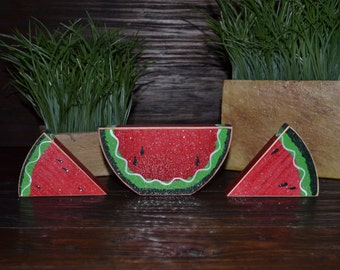 Summertime Watermelon Wood Block Set, Summer Decoration, Watermelon Decor, Summer Picnic, Primitive Seasonal Gift, Seasonal Home Decor