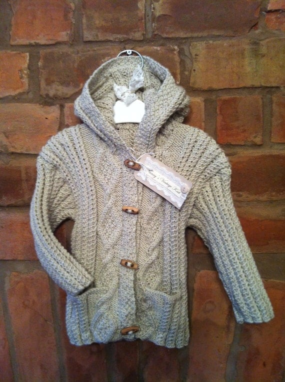 Gorgeous cable knit hooded Cardigan suitable for boy/girl