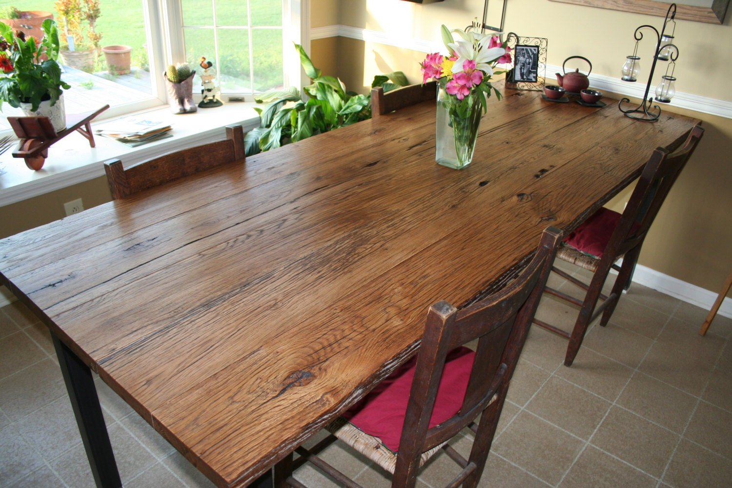 rustic dining room harvest table oak steel by