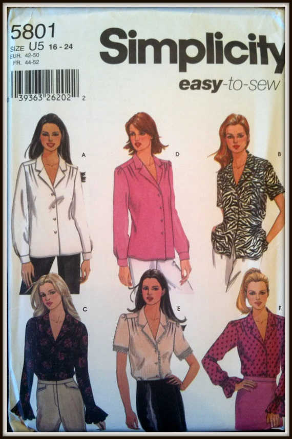 Simplicity  5801  Easy to Sew  Misses' Blouse with Sleeve Variations  Size (16-24)  Uncut
