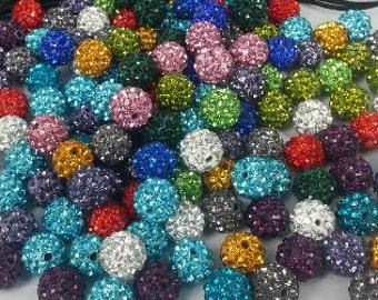200 PCS X 10 MM Shamballa beads disco.balls    in muti colors special price