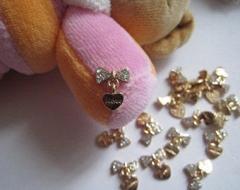 MD-48 5pcs Fancy Metal Charms Crystal Drop Bow Charms Nail Art Decoration Cellphone Decoration