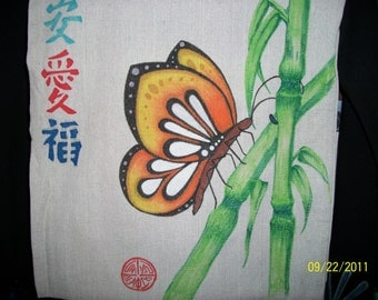 Bamboo butterfly Hand drawn tote bag