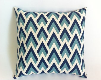 One Navy and Aqua on Natural Decorative Throw Zipper Pillow Covers 18 x 18 inches Double Chevron Pillows-5ERA