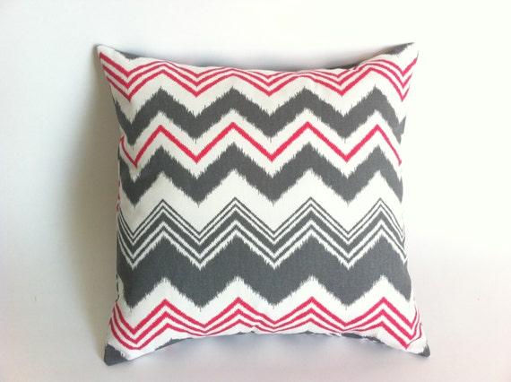 One Decorative Zipper Pillow Cover Raspberry and Gray Missoni Chevron Print 18x18 Inches Accent ...