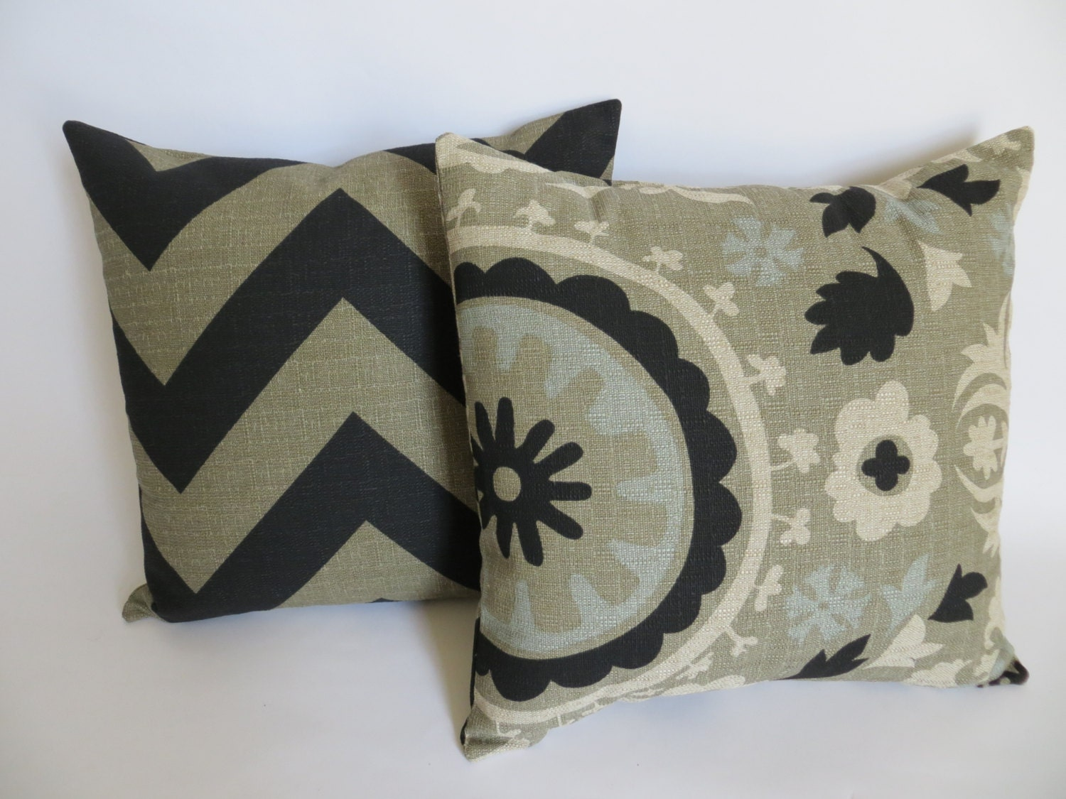 Set of 2 Decorative Throw Zipper Pillow Covers Black by Pillomatic