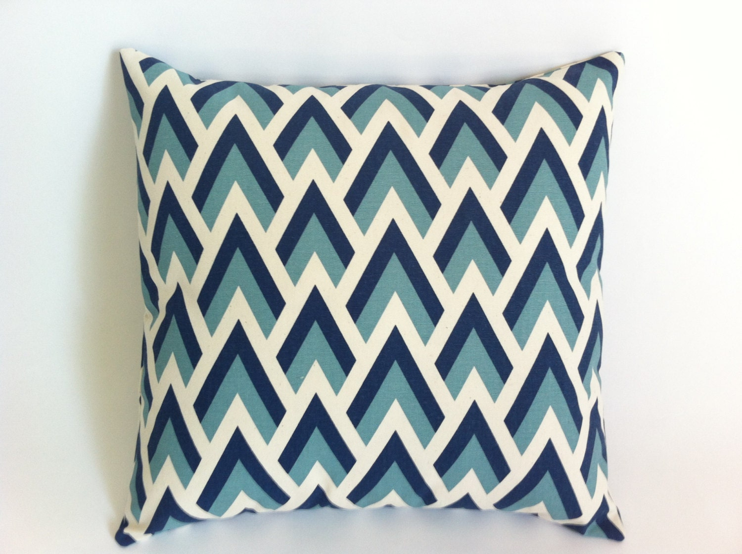 Decorative Pillow Covers With Zippers : One Navy and Aqua on Natural Decorative Throw Zipper Pillow