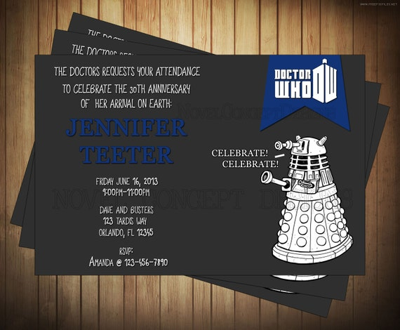 Novel Concept Designs: Doctor Who Birthday Invitations ...