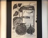 Block Print - Vegetables and Mason Jar on Vintage Cookbook Page, mounted on backer board - Buy 3 Get 1