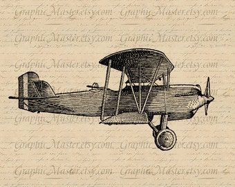 Vintage Biplane Airplane PNG JPEG Graphics Digital Image Instant Download Collage Sheet Iron On Transfer Fabric Pillows Burlap a156
