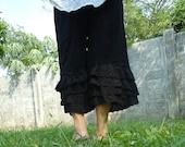 Black lace layers cotton pants