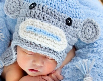 Baby Boy Sock Monkey Crochet Hat