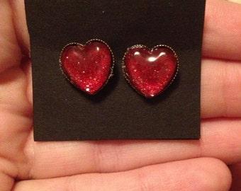 Red Glitter Nail Polish Heart  Earrings
