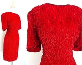 Vintage Red Sequin Dress