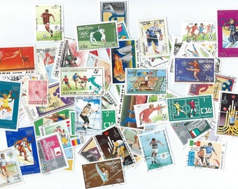 25 Postage Sports Stamps, Olympic themed - Scrapbooking, collage, altered art