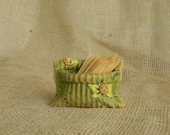 Ceramics toothpick holder green-Pockets of clay for all sorts of useful things-----Ready to Shipping-----