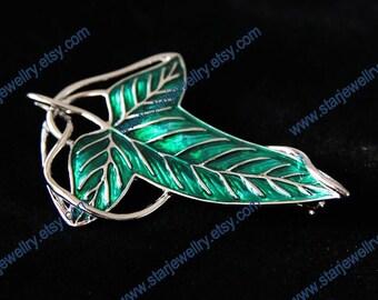 The elven leaf brooch--Alloy platinum Plated & Green enamel