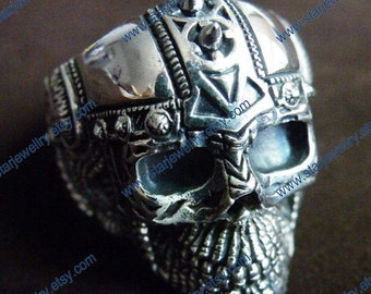 Steampunk  Mars god of war large skull ring very exquisite and details carving
