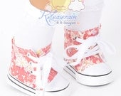 "Cons Canvas Lace-Up Sneakers Boots Doll Shoes Afternoon Daisy Flowers for 18"" American Girl dolls"