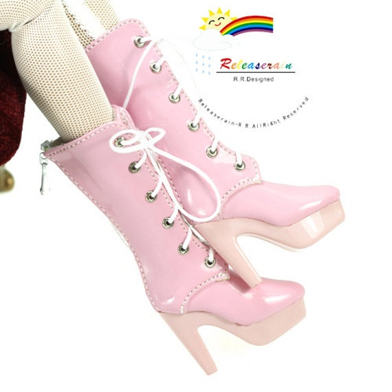 lace up leather high heel boots shoes patent pink by