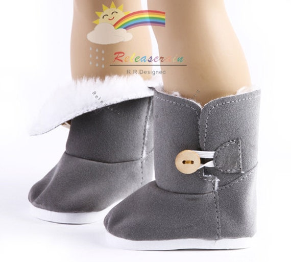"Faux Suede Fur Lining Winter Button Snow Boots Doll Shoes Grey for 18"" American Girl dolls"
