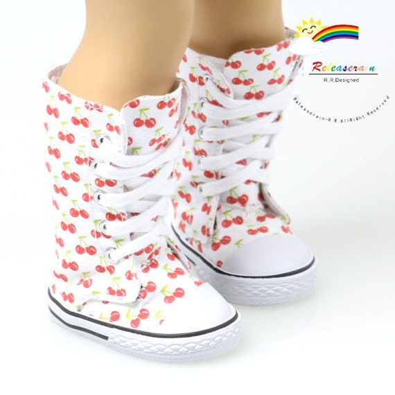 "Canvas Knee High Lace-Up Sneakers Boots Doll Shoes Cherry White for 18"" American Girl dolls"