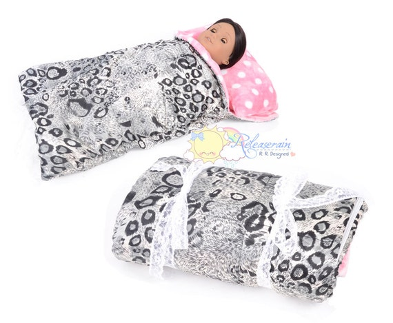 "Black with Grey Leopard Satin Pink/White Polka Dots Stripes Fleece Sleeping Bag No.BG01 for 18"" American Girl, My Twinn doll"