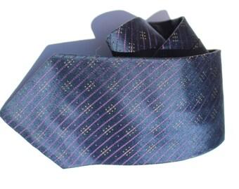 Vintage Designer Calvin Klein Men's Necktie Pure Silk Navy Blue Purple Thin Stripes, Gift for Him, Formal Attire, Fashion, Christmas Tie