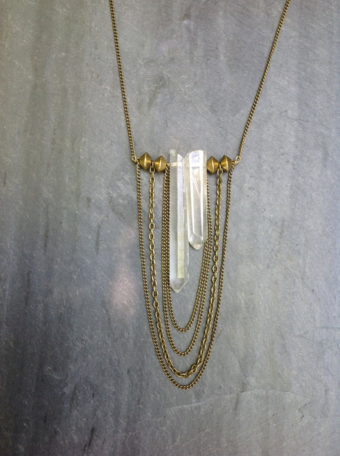 raw quartz crystal asymmetrical necklace with layered brass. Black Bedroom Furniture Sets. Home Design Ideas