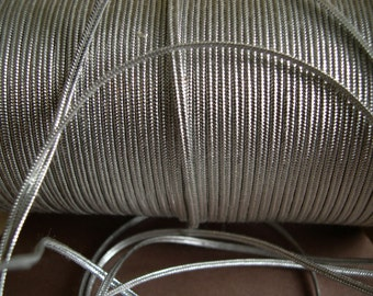 Vintage Metallic Silver Soutache, metallic braid, metallic soutache, soutache trim - Trim  5 yards