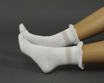 Ruffle The Knee Socks , Ruffle Socks, knee socks, white sock, boot socks,Bamboo sock