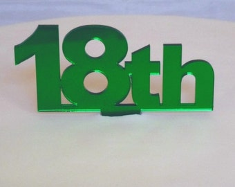 """Celebration Age Green Mirror Cake Toppers Large 10cm/4"""" 15cm inc spike - All Ages"""