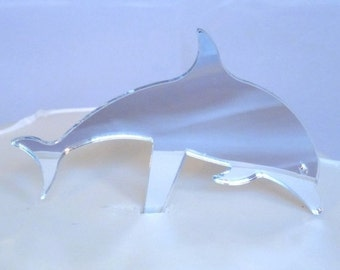 Fish Shaped Cake Toppers in Silver Mirror Acrylic - 10cm / 4""