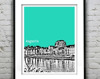 Augusta Maine Poster Art Print Downtown City Skyline ME