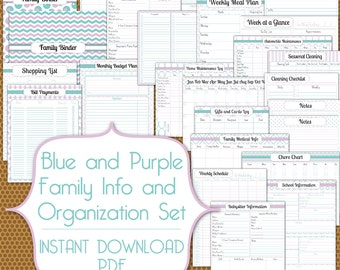 Family Information and Busy Mom PDF Set Instant Download Organization Printable in Blue and Purple