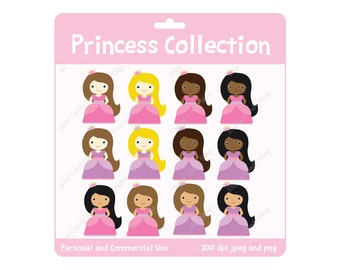 Princess Collection Clipart INSTANT DOWNLOAD Design Elements Digital Scrapbook