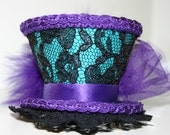 Tiny Top Hat Fascinator Headband - Green with Black Lace and Purple Trim - Handmade