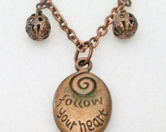 "Antiqued Copper Necklace with ""Follow Your Heart"" Pendant and Matching Earrings Set"
