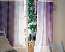Window curtains / Nursery curtains / Kids curtains / Purple and White polka dot and stripes curtains / Select size / Tab tops or Clips