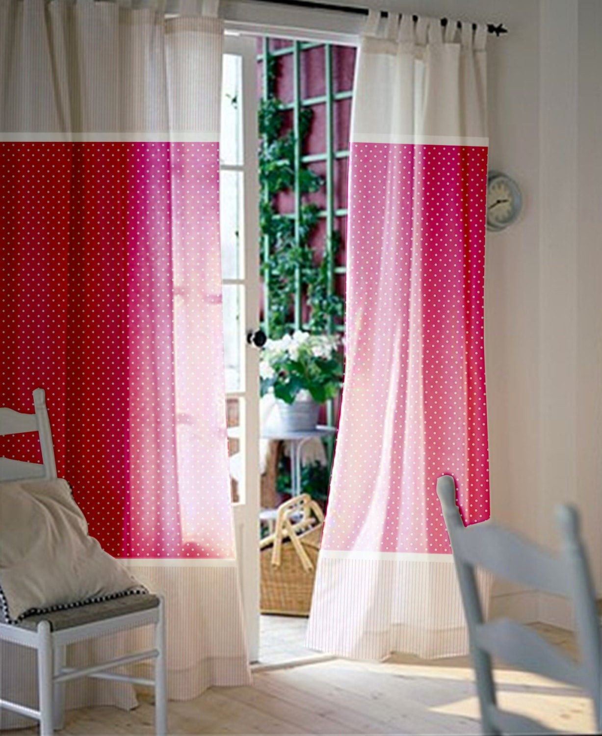 Pink and white polka dot curtains - Baby Nursery Curtains Pink Curtains Kids Curtains Pair Of 96l 46w Inch Curtain Panels With Baby Pink Polka Dot And Stripes Cotton