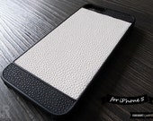 SALE30%OFF: iPhone 5 Case - The Minimalist Black and White PU Leather iPhone Case // Plain, Fashion, Unique iPhone Case, Gift for Men, Style