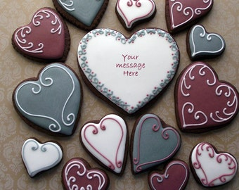 Heart Shaped  Decorated Sugar cookies, one dozen (12)