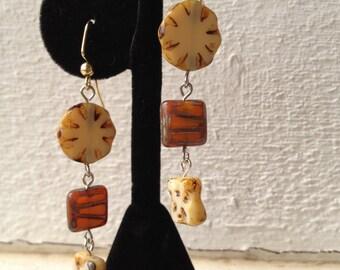 Sand Disk Dangling Earrings